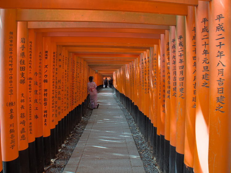Each one of these torii is engraved with the name of their donors.