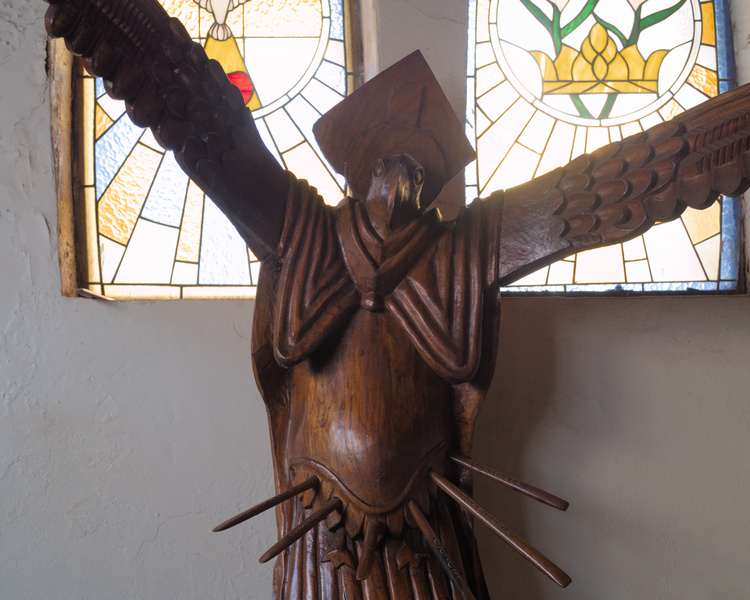 Sculptures in the Church mix Catholic tradition with Rapa Nui aesthethic.