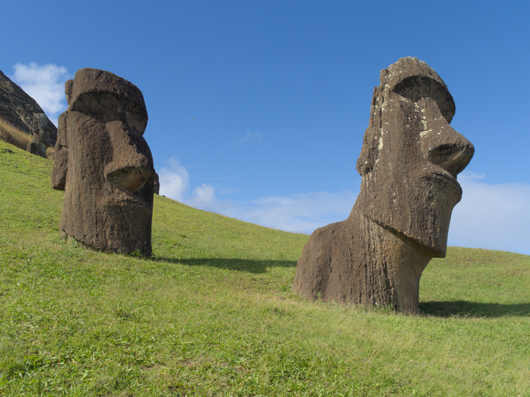 Two of the multiple moais located in Rano Raraku.