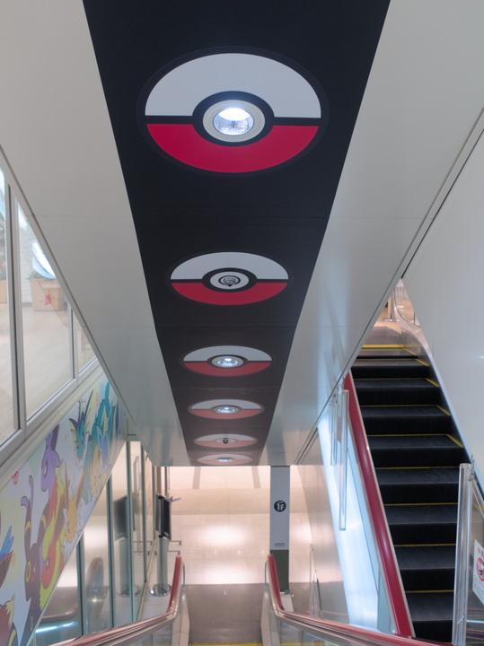 The stairs leading to the Pokémon Center were clearly marked.
